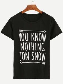 Camiseta letras estampadas -negro