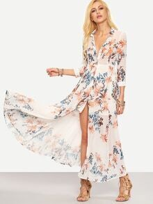 Flower Print Chiffon Long Shirt Dress - White