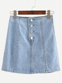 Buttoned Fly A-Line Denim Skirt - Light Blue