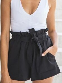 Self-Tie Ruffled Waist Wide Leg Shorts - Black