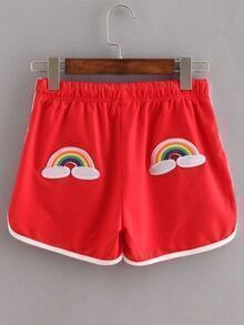 Contrast Trim Rainbow Embroidered Shorts - Red