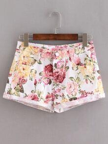 Multicolor Flower Print Rolled Hem Shorts
