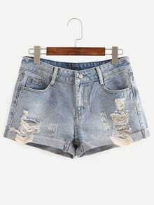 Frayed Rolled Hem Light Blue Denim Shorts