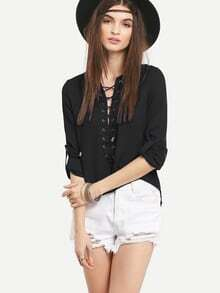 Lace-Up Rolled Sleeve Blouse - Black
