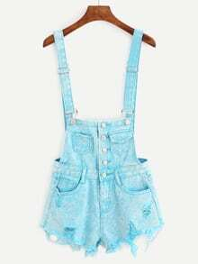 Buttoned Front Raw Hem Overall Denim Shorts - Sky Blue