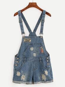 Embroidered Patch Ripped Overall Denim Shorts - Blue