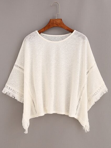 Frayed Lace Insert Poncho Blouse - White