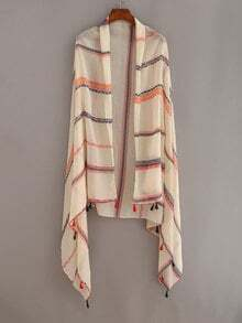 Tassel Trimmed Striped Shawl - Beige