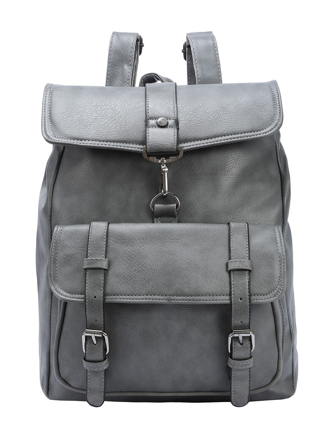 Grey Faux Leather Hook Lock Flap Backpack