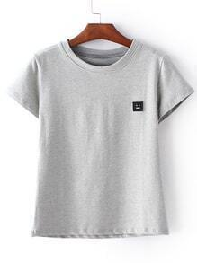 Grey Short Sleeve Smiley Face Patch T-shirt