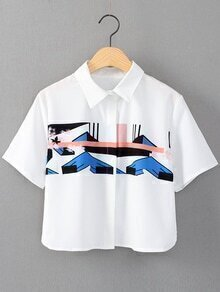 White Short Sleeve Split Side Print Blouse