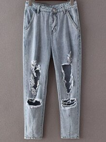 Light Blue Pockets Rippped Hole Denim Pants
