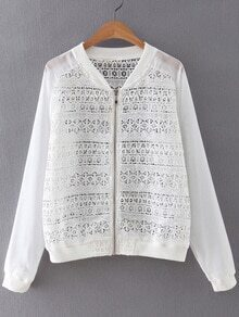 White Zipper Front Chiffon Splicing Crochet Lace Outerwear