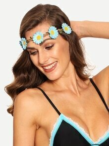 Cinta de cabello flor trenzado -azul