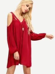 Burgundy Cold Shoulder Long Sleeve Pleated Dress