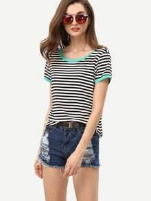Kurzarm T-Shirt gestreift mit Kontrastsaum