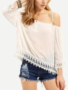 White Spaghettic Strap Crochet Lace Hem Blouse