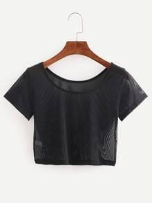 Camiseta Crop de mallas -negro