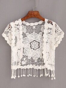 White Crochet Hollow Out Fringe Top