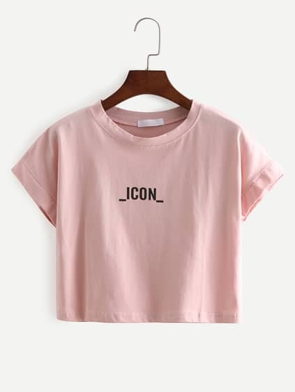 Pink Letters Print Crop T-Shirt