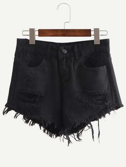 Black Ripped Fringe Denim Shorts