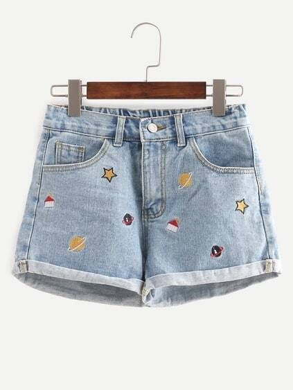 Blue Embroidered Cuffed Denim Shorts