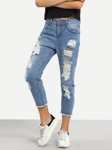 Distressed Raw Hem Blue Ankle Jeans