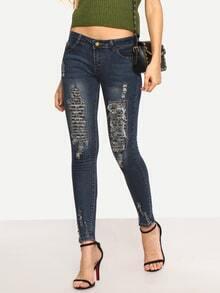 Distressed Dark Blue Skinny Jeans