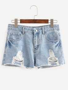 Blue Ripped Scratch Denim Shorts