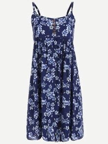 Buttoned Front Flower Print Cami Dress - Blue