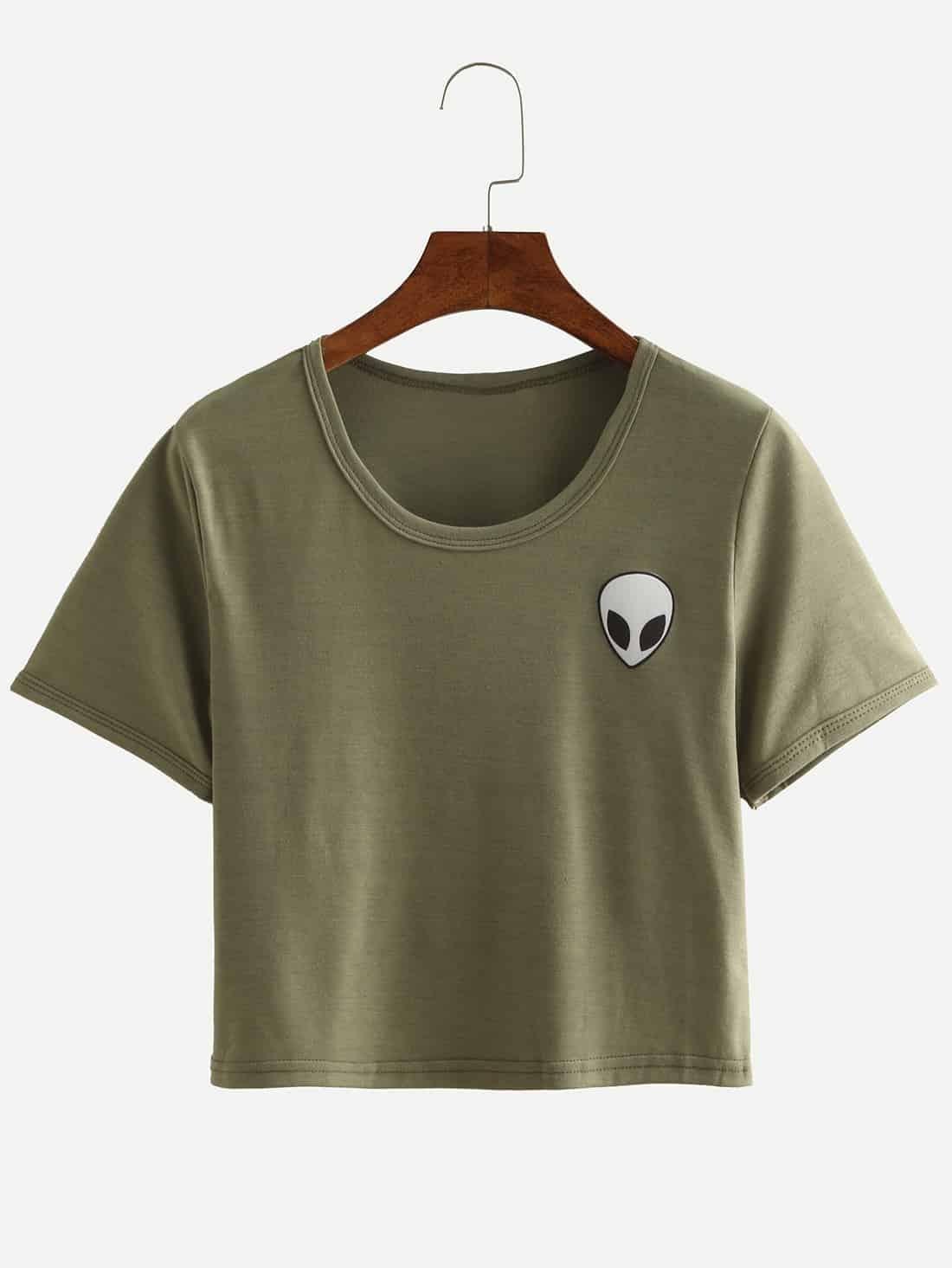 Alien Print Crop T Shirt Olive Greenfor Women Romwe