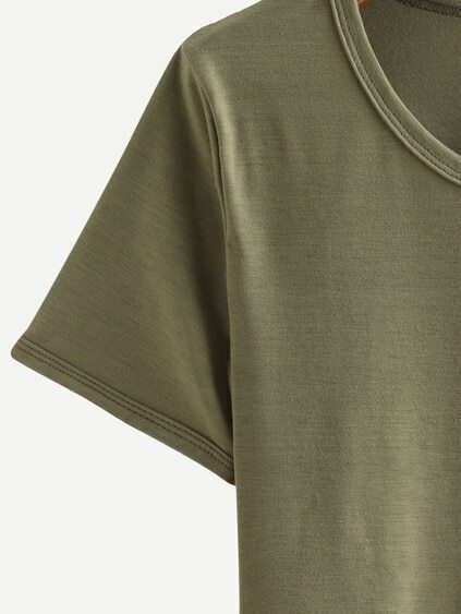 Alien Print Crop T-shirt - Olive Green