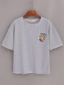 T-Shirt gestreift mit fallenden Schultern lässig