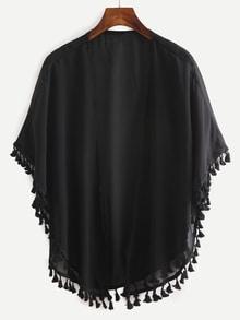 Kimono en mousseline avec franges - Noir