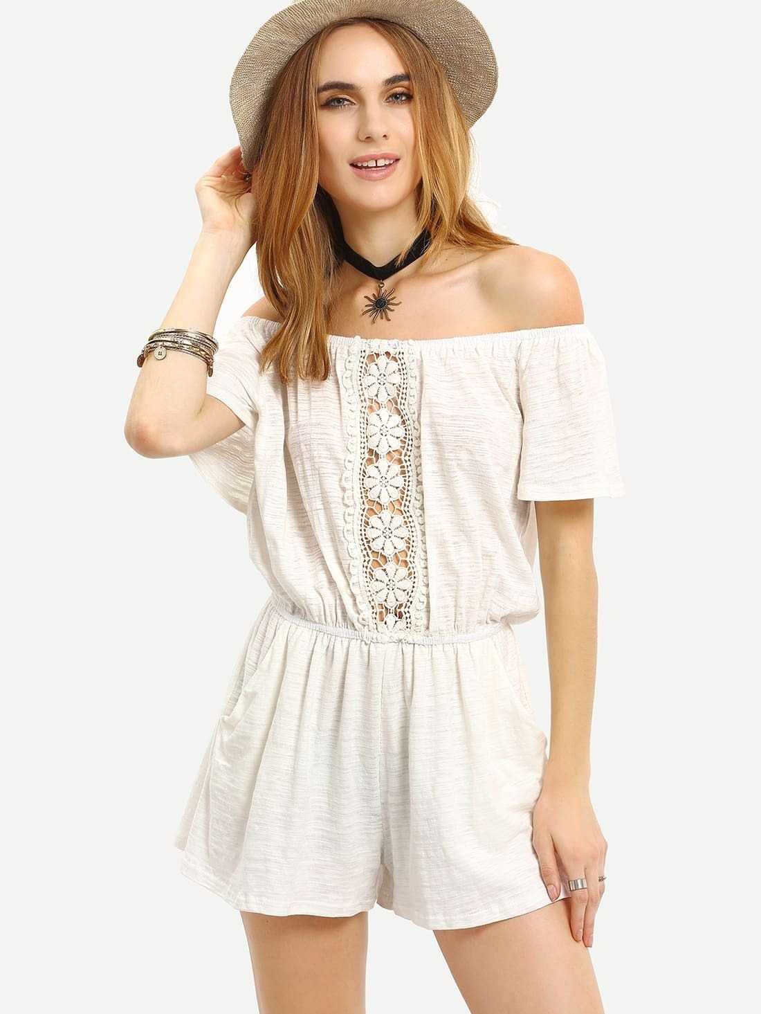 Lace Insert Off-The-Shoulder Romper - White