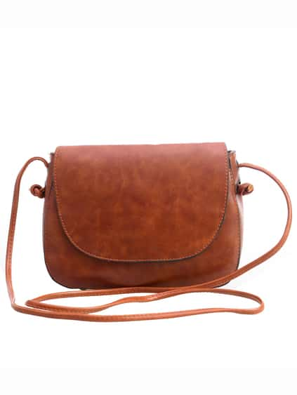 Faux Leather Magnetic Closure Saddle Bag - Brown