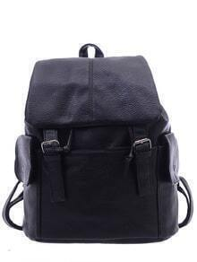 Faux Leather Double Buckle Flap Backpack - Black