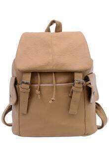 Faux Leather Double Buckle Flap Backpack - Khaki