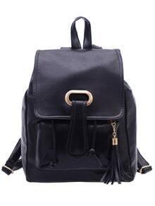 Faux Leather Tassel Embellished Flap Backpack - Black