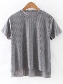 T-shirt trapèze côtelé manche courte -gris