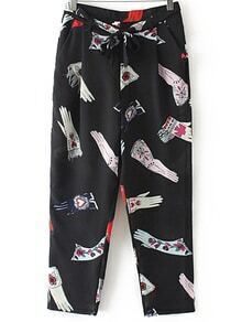 Black Pockets Tie-Waist Bow Printed Pants
