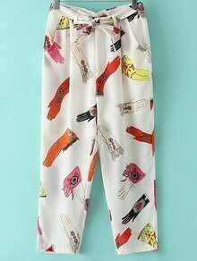 White Pockets Tie-Waist Bow Print Pants
