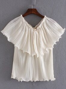 Beige Convertible Chiffon Pleated Tube Blouse