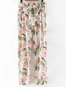 Multicolor Tie-Waist Bow Floral Print Pants