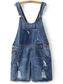 Blue Pockets Buttons Ripped Hole Denim Strap Romper