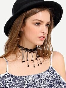 Black Beaded Tassel Pendant Lace Choker Necklace