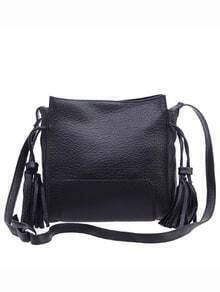 Faux Leather Tassel Trimmed Shoulder Bag - Black