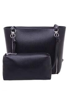 Zip Embellished Shoulder Bag With Makeup Bag - Black