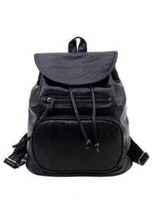 Faux Leather Drawstring Flap Backpack - Black