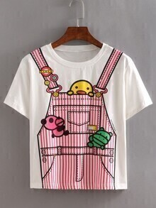 Striped Overall Pants Print T-shirt - White